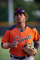 AZL Giants Orange left fielder Ismael Alcantara (85) jogs off the field between innings of an Arizona League game against the AZL Giants Black on July 19, 2019 at the Giants Baseball Complex in Scottsdale, Arizona. The AZL Giants Black defeated the AZL Giants Orange 8-5. (Zachary Lucy/Four Seam Images)
