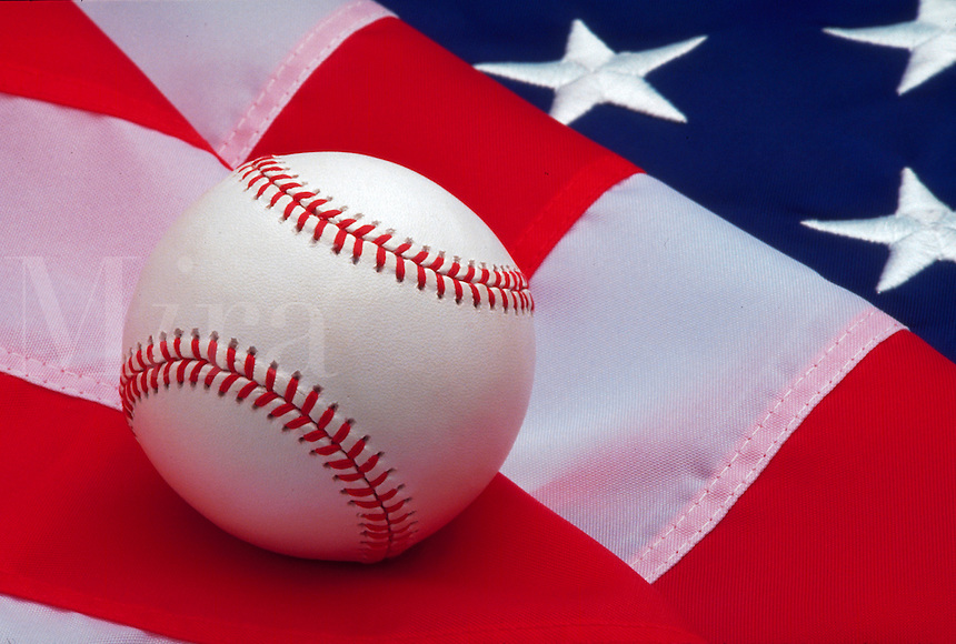 Baseball and flag: the Great American Pastime