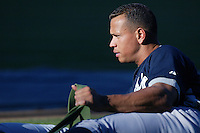 Alex Rodriguez of the New York Yankees during batting practice before a 2007 MLB season game  against the Los Angeles Angels at Angel Stadium in Anaheim, California. (Larry Goren/Four Seam Images)