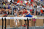 28 MAY 2016: Dan Arnold of Wis.-Platteville competes in the men's 110 meter hurdles during the Division III Men's and Women's Outdoor Track & Field Championship held at Walston Hoover Stadium on the Wartburg College campus in Waverly, IA. Arnold finished in second place with a time of 13.99. Conrad Schmidt/NCAA Photos
