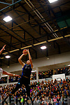 Garvey's Tralee Warriors, Goran Pantovic nearly hits the ceiling with this spectacular jump shot last Saturday night in Tralee against Black Amber Templeogue.