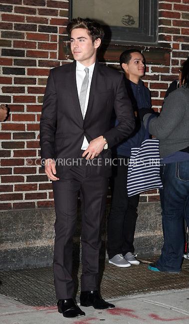 WWW.ACEPIXS.COM . . . . . ....November 24 2009, New York City....Actor Zac Efron made an appearance at 'The Late Show with David Letterman' on November 24 2009 in New York City....Please byline: NANCY RIVERA - ACEPIXS.COM.. . . . . . ..Ace Pictures, Inc:  ..tel: (212) 243 8787 or (646) 769 0430..e-mail: info@acepixs.com..web: http://www.acepixs.com