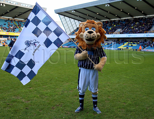 15.02.2014 London, England. Millwall  MASCOT before the Championship game between Millwall and Bolton Wanderers from The New Den.