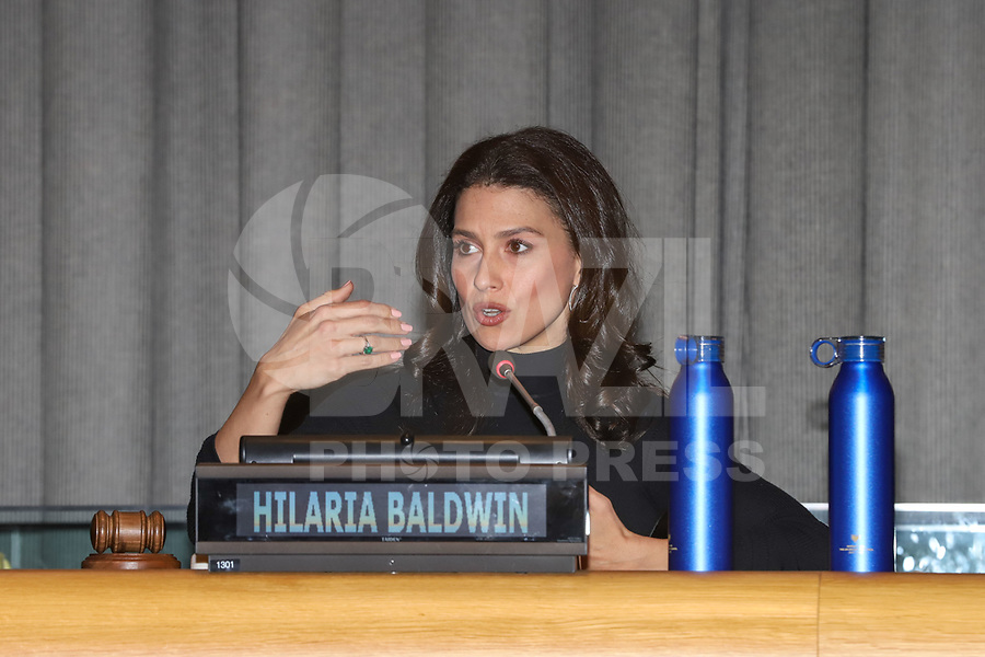 NOVA YORK, EUA, 05.02.2019 - ONU-NOVA YORK - Hilaria Baldwin durante encontro para falar sobre a comida no mundo na Sede da Onu em Nova York nesta terça-feira, 05.  (Foto: Vanessa Carvalho/Brazil Photo Press)