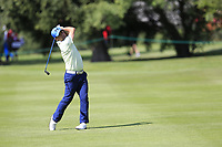 Felipe Aguilar (CHI) plays his 2nd shot on the 15th hole during Thursday's Round 1 of the 2017 Omega European Masters held at Golf Club Crans-Sur-Sierre, Crans Montana, Switzerland. 7th September 2017.<br /> Picture: Eoin Clarke | Golffile<br /> <br /> <br /> All photos usage must carry mandatory copyright credit (&copy; Golffile | Eoin Clarke)