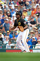 Pittsburgh Pirates first baseman Josh Bell (55) stretches for a throw during a Spring Training game against the Toronto Blue Jays  on March 3, 2016 at McKechnie Field in Bradenton, Florida.  Toronto defeated Pittsburgh 10-8.  (Mike Janes/Four Seam Images)