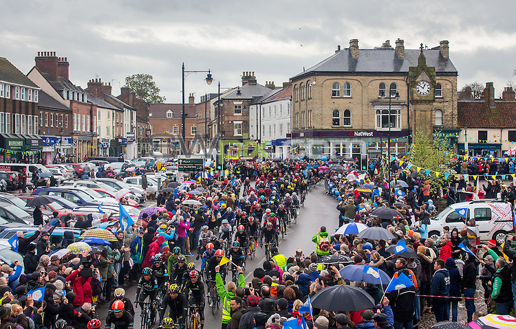 Picture by Alex Whitehead/SWpix.com - 01/05/2016 - Cycling - Tour de Yorkshire, Stage 3: Middlesbrough to Scarborough - Yorkshire, England - The peloton in action through Thirsk.