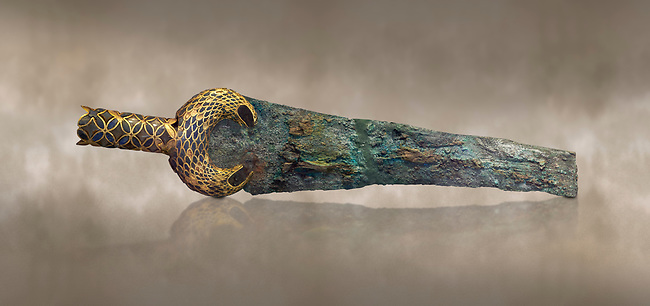 Mycenaean  Bronze dagger with inlaid lion hunt scene from Grave V, Grave Circle A, Mycenae, 16th cent BC. National Archaeological Museum Athens. 16th Cent BC. Cat No 394