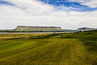 Looking at Ben Bulbin across the 11th green during Practice day for the Flogas Irish Amateur Open Championship 2019 at the Co.Sligo Golf Club, Rosses Point, Sligo, Ireland. 15/05/19<br /> <br /> Picture: Thos Caffrey / Golffile<br /> <br /> All photos usage must carry mandatory copyright credit (© Golffile | Thos Caffrey)