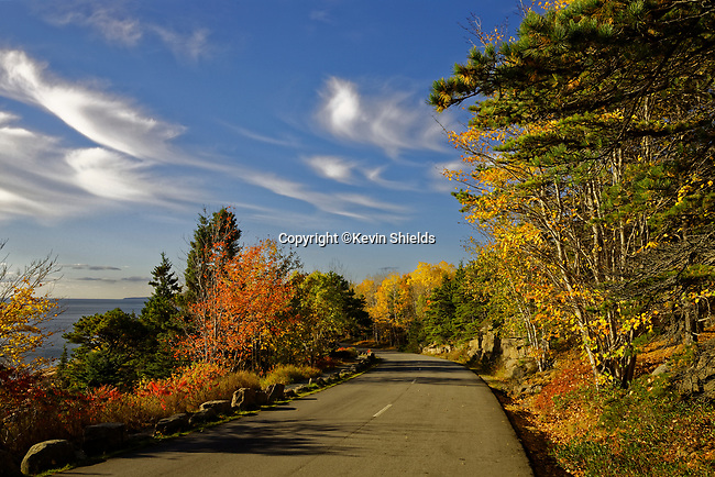 View along Ocean Drive In the Fall, Acadia National Park, Maine, USA