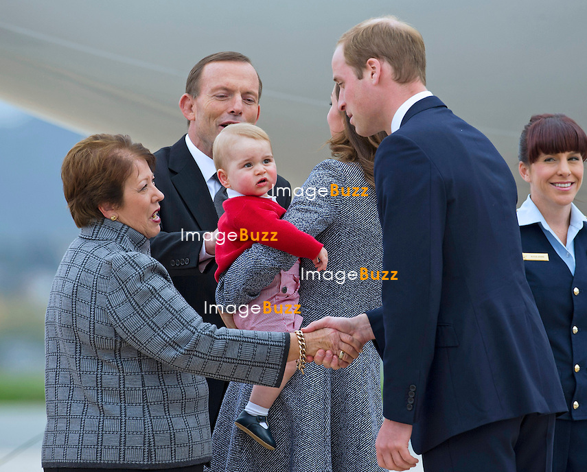 KATE, DUCHESS OF CAMBRIDGE, PRINCE GEORGE AND PRINCE WILLIAM <br /> depart Canberra on a Royal Australian Air Force plane for a connecting flight in Sydney.<br /> The Cambridges are returning to England after a 19 day Royal Tour of New Zealand and Australia.<br /> They were seen off at the airport by Prime Minister Tony Abbott and wife Margie Abbott and Lady Cosgrove, wife of the Governor-General.<br /> Canberra, Australia, 25.04.2014