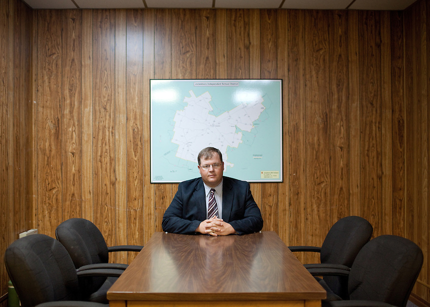 Portait of Jonesboro ISD Superintendent Matt Dossey at the middle school and high school building in Jonesboro, Texas. Jonesboro ISD has implemented a policy allowing select teachers to carry a concealed handgun to school. CREDIT: Lance Rosenfield/Prime