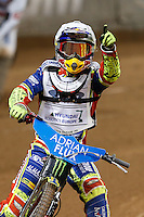 PIOTR PAWLICKI (Poland) in action celebrates a heat victory during the 2016 Adrian Flux British FIM Speedway Grand Prix at Principality Stadium, Cardiff, Wales  on 9 July 2016. Photo by David Horn.