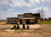 Old Wildwood Plantation gas pumps located outside Greenwood Mississippi inthe Delta part of a series of Delta winter photos..(Photo/© Suzi Altman)