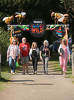 Pictured L-R: Lowri Davies, Jeff Davies, Unknown, Abigail Moss of Kew and Sue Davies Saturday 13 August 2016<br />Re: Grow Wild event at  Furnace to Flowers site in Ebbw Vale, Wales, UK