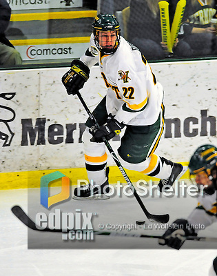 21 February 2009: University of Vermont Catamount defenseman Josh Burrows, a Sophomore from Prairie Grove, IL, in action against the University of Massachusetts River Hawks at Gutterson Fieldhouse in Burlington, Vermont. The River Hawks shut out the Catamounts 1-0. Mandatory Photo Credit: Ed Wolfstein Photo