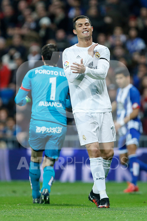 Real Madrid´s Cristiano Ronaldo reacts during 2015/16 La Liga match between Real Madrid and Deportivo de la Coruna at Santiago Bernabeu stadium in Madrid, Spain. January 09, 2015. (ALTERPHOTOS/Victor Blanco)