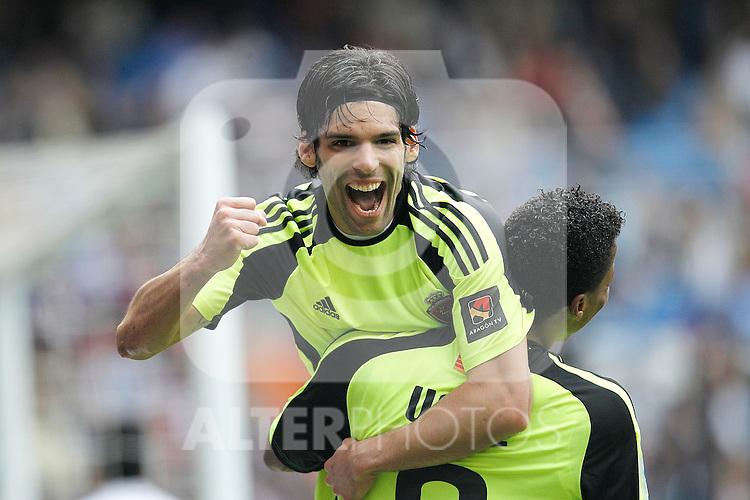 Zaragoza's Lafita celebreting goal during Spanish League match on April 30, 2011...Photo: Cebolla Cid-Fuentes / ALFAQUI