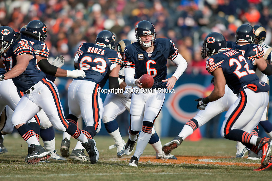 Chicago Bears quarterback Jay Cutler (6) during an NFL football game against the St. Louis Rams at Soldier Field in Chicago, Illinois on December 6, 2009. The Bears won 17-9. (AP Photo/David Stluka)