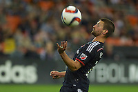 DC United;s Perry Kitchen controls the ball with his chest. Red Bull NY rallied back to tie DC United 2-2 at RFK Stadium in Washington D.C. on Saturday April 11, 2015.