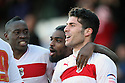 Dani Lopez of Stevenage (r) celebrates scoring his second goal with Lucas Akins (l) and Anthony Grant. Stevenage v Sheffield United - npower League 1 -  Lamex Stadium, Stevenage - 16th March, 2013. © Kevin Coleman 2013.. . . .