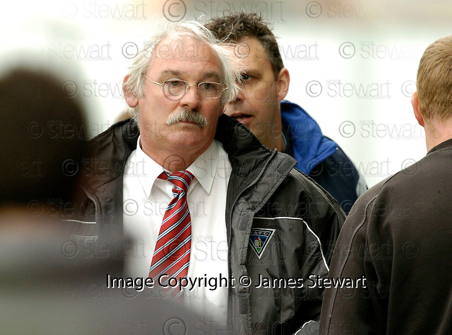 15/04/2006         Copyright Pic: James Stewart.File Name : sct_jspa12_falkirk_v_dunfermline.A WORRIED LOOKING JIM LEISHMAN  AT THE END OF THE MATCH AGAINST FALKIRK...... Payments to :.James Stewart Photo Agency 19 Carronlea Drive, Falkirk. FK2 8DN      Vat Reg No. 607 6932 25.Office     : +44 (0)1324 570906     .Mobile   : +44 (0)7721 416997.Fax         : +44 (0)1324 570906.E-mail  :  jim@jspa.co.uk.If you require further information then contact Jim Stewart on any of the numbers above.........