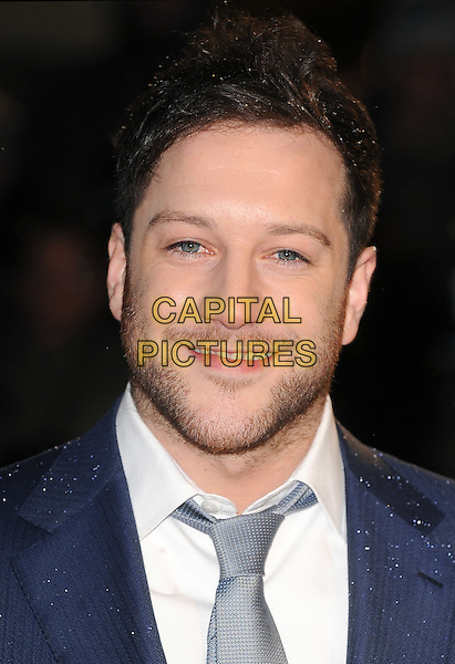 "MATT CARDLE.The Royal Film Performance 2010: The World Premiere of ""Chronicles of Narnia: The Voyage of the Dawn Treader"" at the Odeon, Leicester Square, London, England..November 30th 2010.headshot portrait white blue tie stubble facial hair beard .CAP/BEL.©Tom Belcher/Capital Pictures."