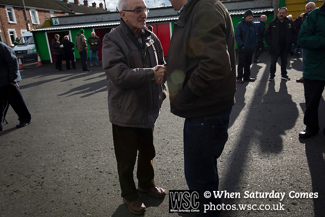 Glentoran 2 Cliftonville 1, 22/10/2016. The Oval, NIFL Premiership. Home supporters gathering inside The Oval, Belfast before Glentoran hosted city-rivals Cliftonville in an NIFL Premiership match. Glentoran, formed in 1892, have been based at The Oval since their formation and are historically one of Northern Ireland's 'big two' football clubs. They had an unprecendentally bad start to the 2016-17 league campaign, but came from behind to win this fixture 2-1, watched by a crowd of 1872. Photo by Colin McPherson.