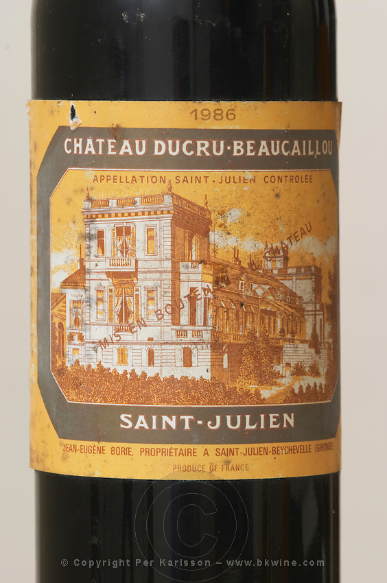 Chateau Ducru Beaucaillou 1986, Saint Julien, old dusty label. Medoc, Bordeaux, France