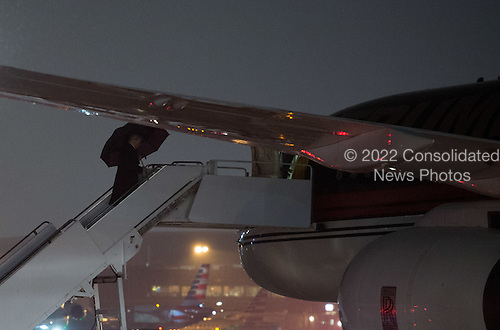United States President-elect Donald Trump, boards his plane at Laguardia airport on January 17, 2017 in New York City. U.S. President Elect Donald Trump is still holding meetings upstairs at Trump Tower just 3 days before the inauguration.     <br /> Credit: Bryan R. Smith / Pool via CNP