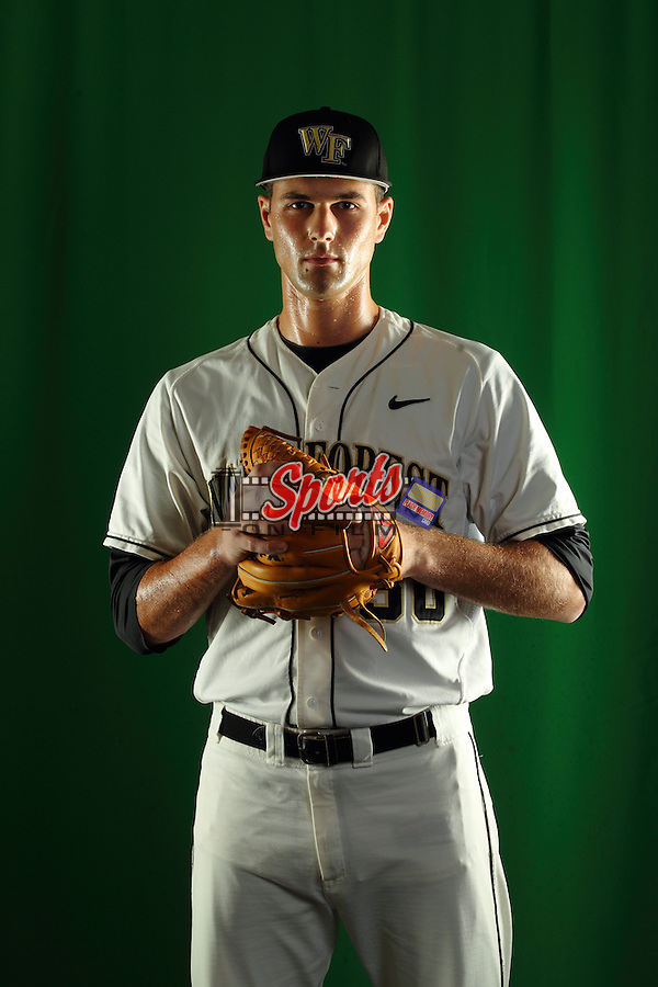 Justin Van Grouw (30) poses during a photo session at Wake Forest Baseball Park on January 15, 2013 in Winston-Salem, North Carolina.    (Brian Westerholt/Sports On Film)