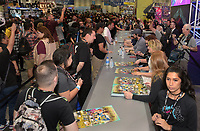 FOX FAN FAIR AT SAN DIEGO COMIC-CON© 2019: L-R: BLESS THE HARTS Executive Producers Phil Lord, Chris Miller, Cast Member Ike Barinholtz, Executive Producer Emily Spivey and Cast Member Jillian Bell during the BLESS THE HARTS booth Signing on Friday, July 19 at the FOX FAN FAIR AT SAN DIEGO COMIC-CON© 2019. CR: Alan Hess/FOX © 2019 FOX MEDIA LLC