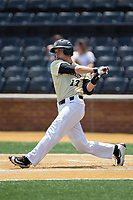 Bruce Steel (17) of the Wake Forest Demon Deacons follows through on his swing against the Pitt Panthers at David F. Couch Ballpark on May 20, 2017 in Winston-Salem, North Carolina. The Demon Deacons defeated the Panthers 14-4.  (Brian Westerholt/Four Seam Images)