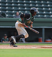Outfielder Jesus Galindo (28) of the Augusta GreenJackets, a San Francisco Giants affiliate, in a game against the Greenville Drive on August 22, 2012, at Fluor Field at the West End in Greenville, South Carolina. Augusta won, 6-1. (Tom Priddy/Four Seam Images).