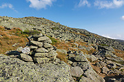 Rock cairn along the Appalachian Trail (Gulfside Trail), near Mount Clay, in the White Mountains, New Hampshire.