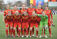 20140208 - OOSTAKKER , BELGIUM : Belgian National team pictured with Tessa Wullaert (9) , Maud Coutereels (18) , Julie Biesmans (20) , Cecile De Gernier (7) , Heleen Jaques (3) , Aline Zeler (10) , Marlies Verbruggen (15) , Janice Cayman (11) , Davina Philtjens (2) , Lorca Van De Putte (5) and goalkeeper Sofie Van Houtven (12) during a friendly soccer match between the women teams of Belgium and Poland , Saturday 8 February 2014 in Oostakker. PHOTO DAVID CATRY