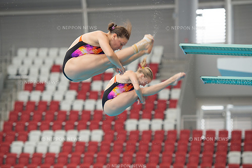 (L-R) Viktoriya Kesar & Anastasiia Nedobiga (UKR) in the Synchronized 3m Springboard Women competition of the FINA Diving Grand Prix 2015 (Singapore) at the OCBC Aquatic Centre on 17 Oct 2015, in Singapore. They took 2nd position. (Photo by Haruhiko Otsuka/Aflo)