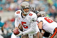 December 11, 2011:  Tampa Bay Buccaneers quarterback Josh Freeman (5) prepares to hand off during first half action between the Jacksonville Jaguars and the Tampa Bay Buccaneers played at EverBank Field in Jacksonville, Florida.  ........