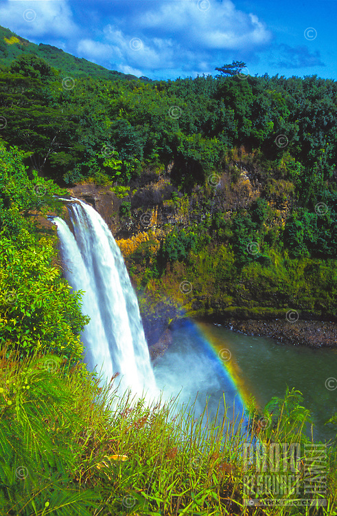 Easily accessible, 80-foot Wailua Falls surrounded by lush vegetation on the island of Kauai