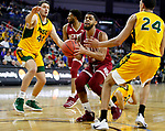 SIOUX FALLS, SD - MARCH 7: Jase Townsend #3 of the Denver Pioneers drives to the basket through Tyler Witz #44 and Tyson Ward #24 of the North Dakota State Bison at the 2020 Summit League Basketball Championship in Sioux Falls, SD. (Photo by Richard Carlson/Inertia)
