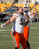 Miami offensive lineman KC McDermott gets fired up before the game. The Pitt Panthers upset the undefeated Miami Hurricanes 24-14 on November 24, 2017 at Heinz Field, Pittsburgh, Pennsylvania.