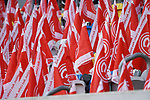 14.04.2019, Merkur Spielarena, Duesseldorf , GER, 1. FBL,  Fortuna Duesseldorf vs. FC Bayern Muenchen,<br />  <br /> DFL regulations prohibit any use of photographs as image sequences and/or quasi-video<br /> <br /> im Bild / picture shows: <br /> Feature Fortuna Fahnen<br /> <br /> Foto © nordphoto / Meuter