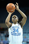 05 December 2012: North Carolina's Xylina McDaniel. The University of North Carolina Tar Heels played the Radford University Highlanders at Carmichael Arena in Chapel Hill, North Carolina in an NCAA Division I Women's Basketball game. UNC won the game 64-44.