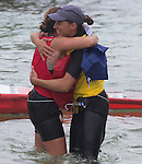 Marina Alabau (left) from Spain Charline Picon from France  celebrating during the ISAF Sailing World Championships 2014 at the Real Club Maritimo of Santander on September 19, 2014 in Santander, Spain. Photo by Nacho Cubero / Power Sport Images