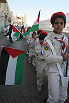 Palestinian Chastain's Scouts march in the Manger Suare next to the Church of the Nativity, the traditionally excepted birthplace of Jesus Christ, during the annual Christmas celebrations in the west Bank town of Bethlehem, 24 December 2009. The head of the Roman Catholic Church in the Holy Land, Patriarch Fouad Twal, arrived in Bethlehem, ahead of Christmas celebrations in the city revered as the birthplace of Jesus Christ. Photo by Najeh Hashlamoun