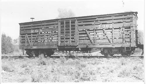 RGS stock car #7302 in Gunnison, CO.<br /> RGS  Gunnison, CO  Taken by Maxwell, John W. - 5/29/1948