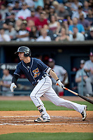 Toledo Mud Hens shortstop Brendan Ryan (7) follows through on his swing against the Louisville Bats during the International League baseball game on May 17, 2017 at Fifth Third Field in Toledo, Ohio. Toledo defeated Louisville 16-2. (Andrew Woolley/Four Seam Images)