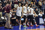 27 APR 2014: Eric Johnson (16) of Springfield College reacts to a point against Juniata College during the Division III Men's Volleyball Championship held at the Kennedy Sports Center in Huntingdon, PA. Springfield defeated Juniata 3-0 to win the national title.  Mark Selders/NCAA Photos