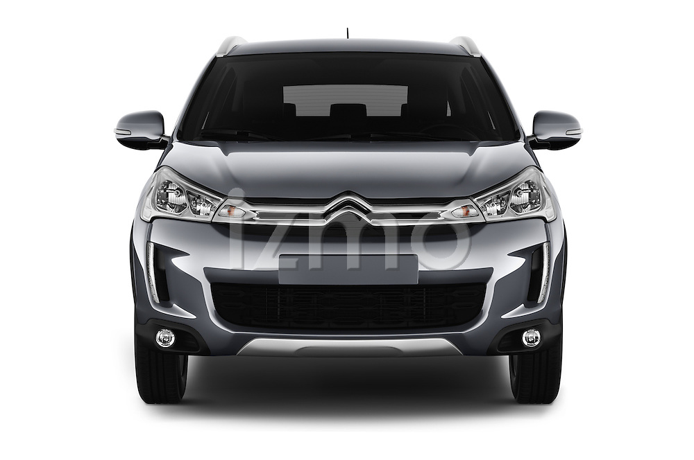 Car photography straight front view of a 2016 Citroen C4-Aircross Feel-Edition 5 Door Suv Front View