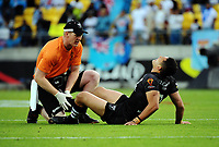 New Zealand's Dallin Watene Zelezniak has an injury checked during the 2017 Rugby League World Cup quarterfinal match between New Zealand Kiwis and Fiji at Wellington Regional Stadium in Wellington, New Zealand on Saturday, 18 November 2017. Photo: Dave Lintott / lintottphoto.co.nz